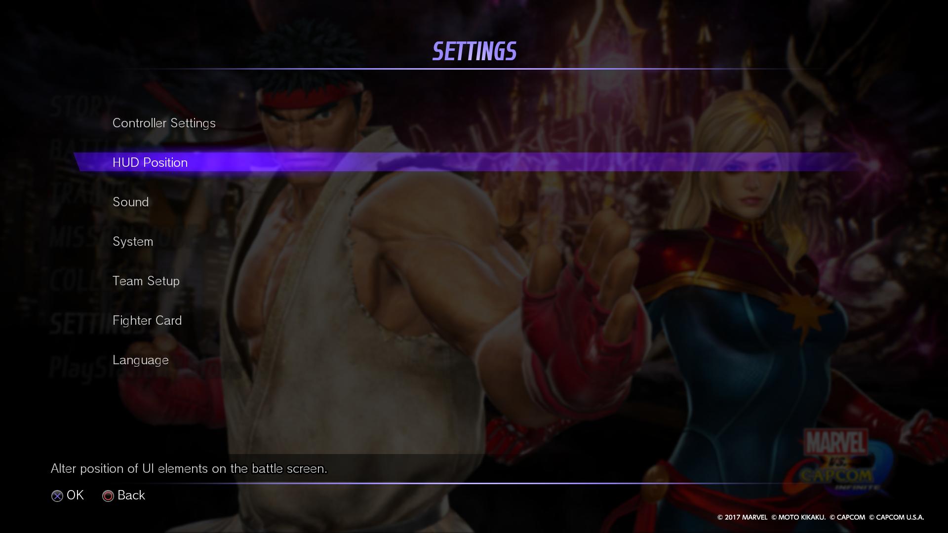 Marvel Vs Capcom Infinite Official Web Manual Settings